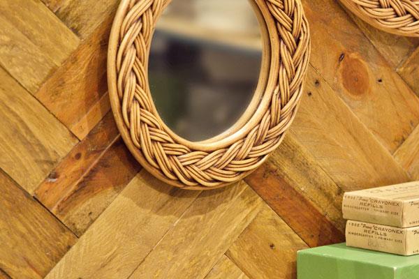 職人による手編みウォールミラー ラタン素材 円形 三つ編みタイプ Sサイズ