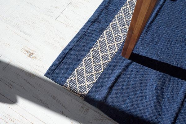 落ち着いた2色のカラー。コットンラグマット ブラウン/ブルー 【130×190cm】