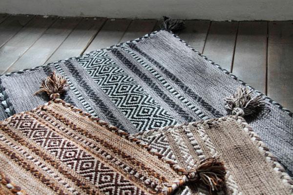 モコモコした独特の風合いが魅力。シェニール織りコットンラグ グレー/ベージュ/ネイビー 【90×130cm】【130×190cm】