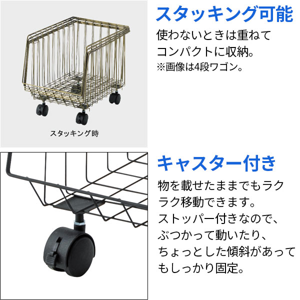 商品陳列や『見せる収納』に。スタッキングできる3段バスケットワゴン