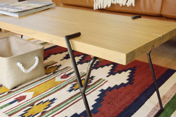アイアン脚がスタイリッシュなコーヒーテーブル Lサイズ