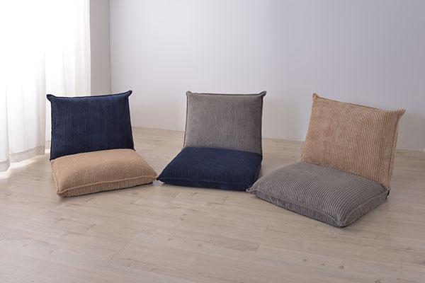 コーデュロイ素材のふわふわフロアソファ 座椅子