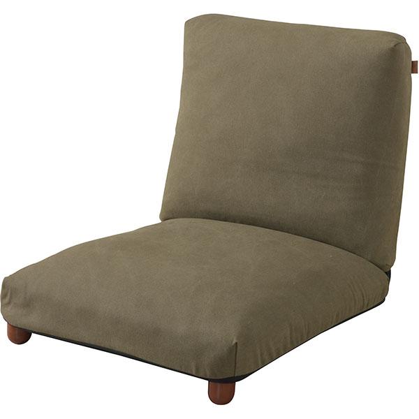 脚付きリクライニング座椅子大きめサイズ ファブリック生地/デニム生地