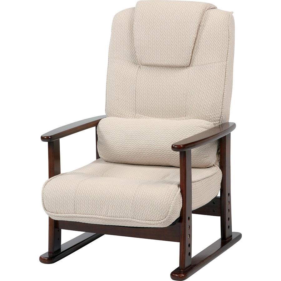 座面低めのリクライニング高座椅子 柔らかい低反発ウレタン 安楽椅子 125-16154|詳細画像