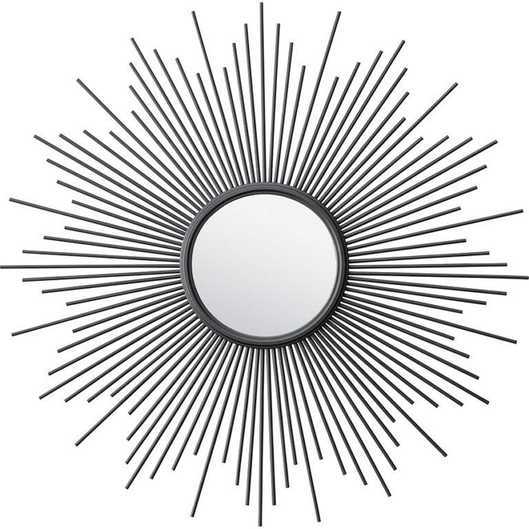 輝く太陽のようなデザインのウォールミラー ブロンズ/ ブラック