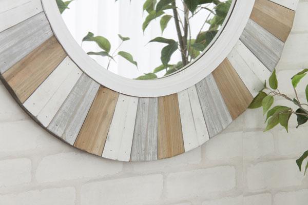 天然杉のウォールミラー 円形 ナチュラルスタイル