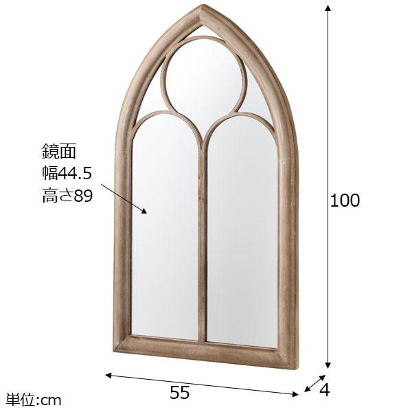 ゴシック様式の西洋窓風ウォールミラー 鉄製 タイプC