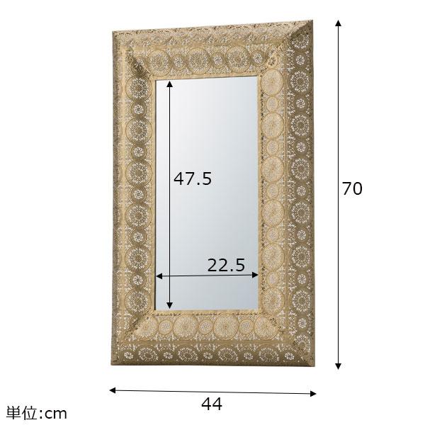 アンティークな風合いの装飾フレーム壁掛けミラー ゴールド/シルバー Sサイズ