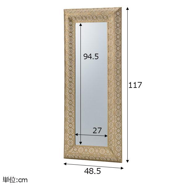 アンティークな風合いの装飾フレーム壁掛けミラー ゴールド/シルバー Lサイズ