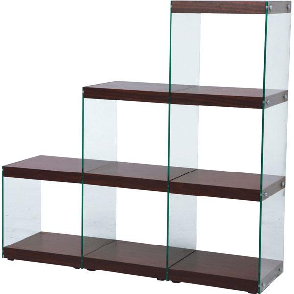 オープンラック 階段3段タイプ ガラスシェルフ ディスプレイ什器