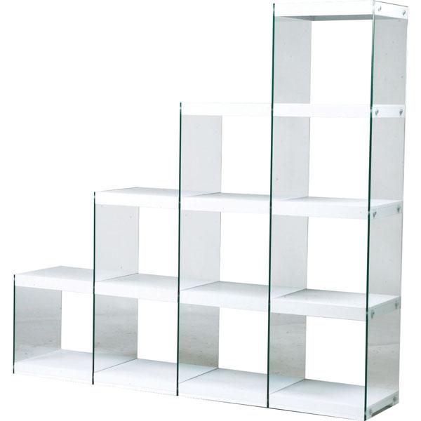 オープンラック 階段4段タイプ ガラスシェルフ ディスプレイ什器