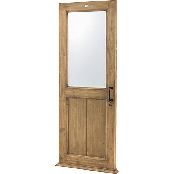 天然杉を使用したアンティーク調ドア型ミラー ブラウン S字フック付き 高さ161cm