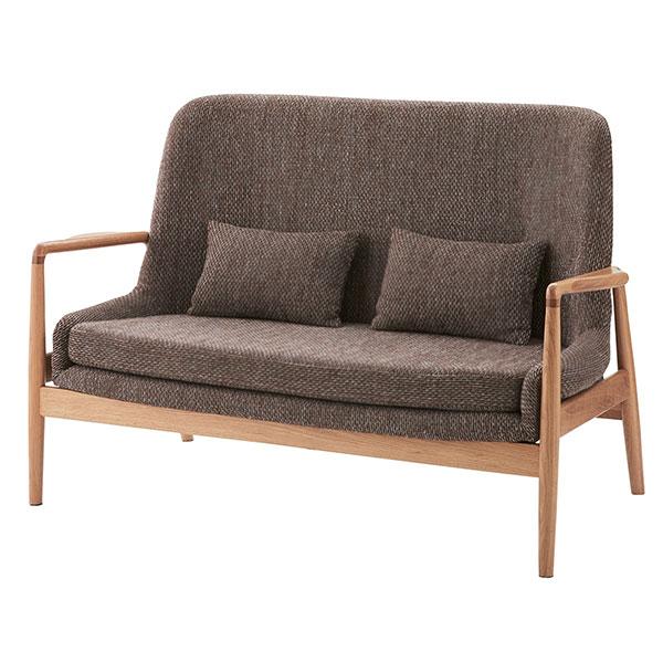 オーク天然木を使用した2人掛けソファ 腰サポート