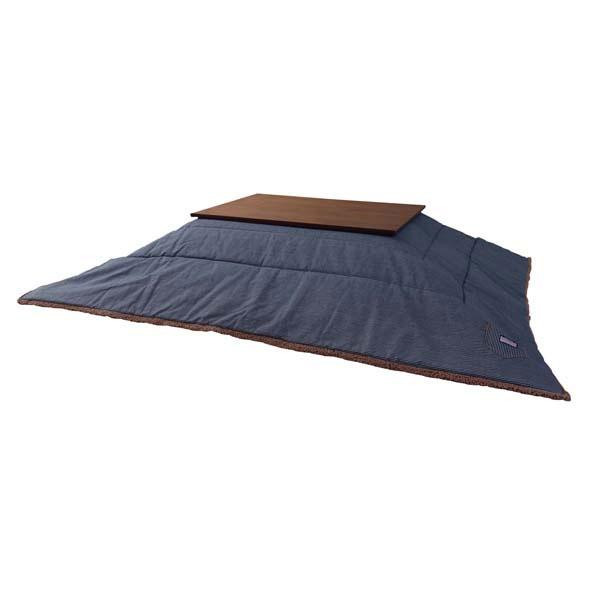 こたつ掛け布団 ネイビー ヒッコリーストライプ柄 ふわふわボア素材 縞模様 正方形/長方形