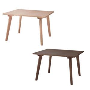 天然木を使用した2人用ナチュラルダイニングテーブル  大きめサイズ 北欧調【100cm×100cm】