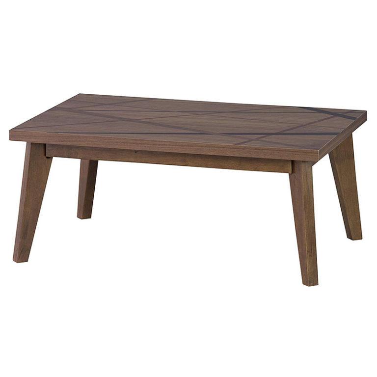 コタツテーブル ブラウン色 おしゃれラインデザイン 90×60cm