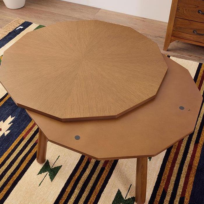 12角形のデザインこたつテーブル 天然木オーク 80×80cm