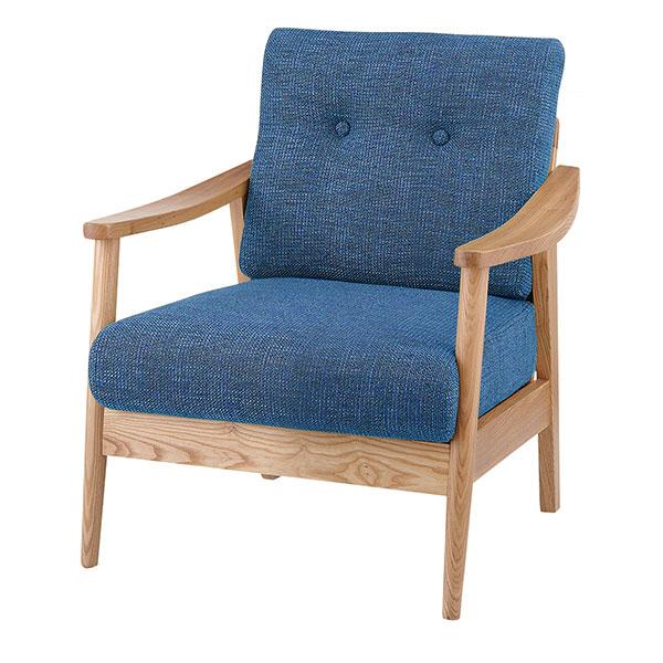 天然木アッシュ材を使用した1人掛けソファ